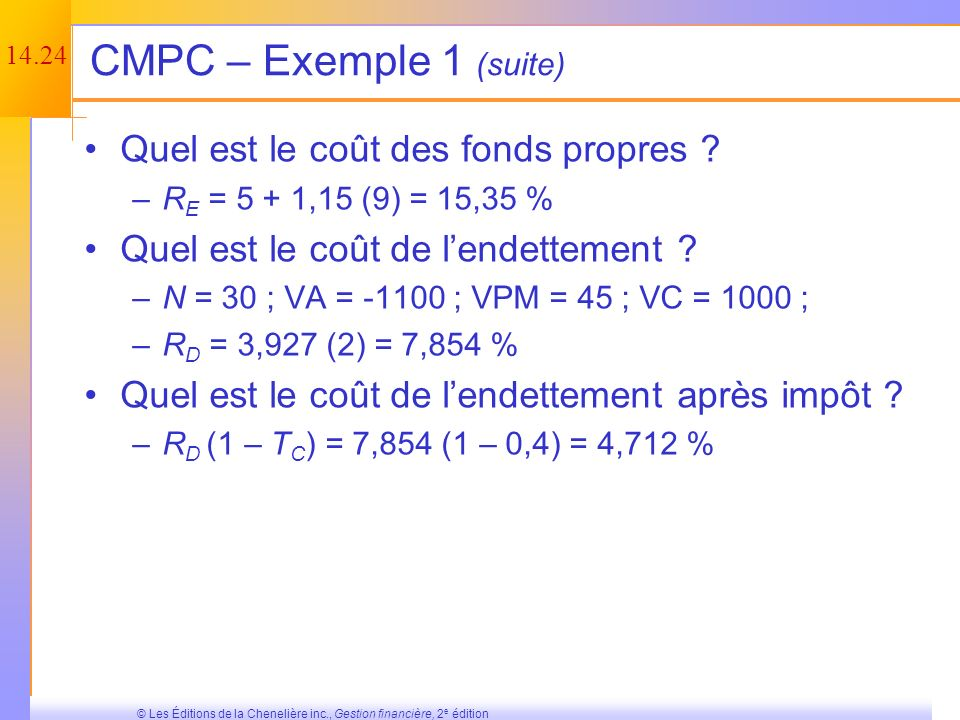 14.23 © Les Éditions de la Chenelière inc., Gestion financière, 2 e édition CMPC – Exemple 1 Information sur les FP –50 millions dactions –Cours dune