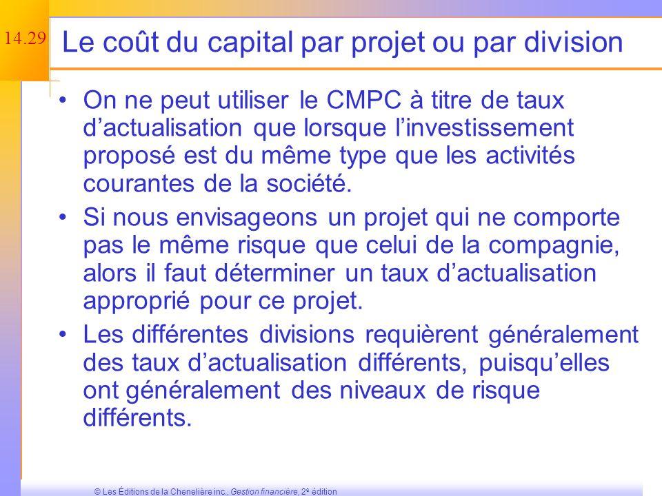 14.28 © Les Éditions de la Chenelière inc., Gestion financière, 2 e édition Tableau 14.1 – Récapitulation des calculs du coût du capital (fin)