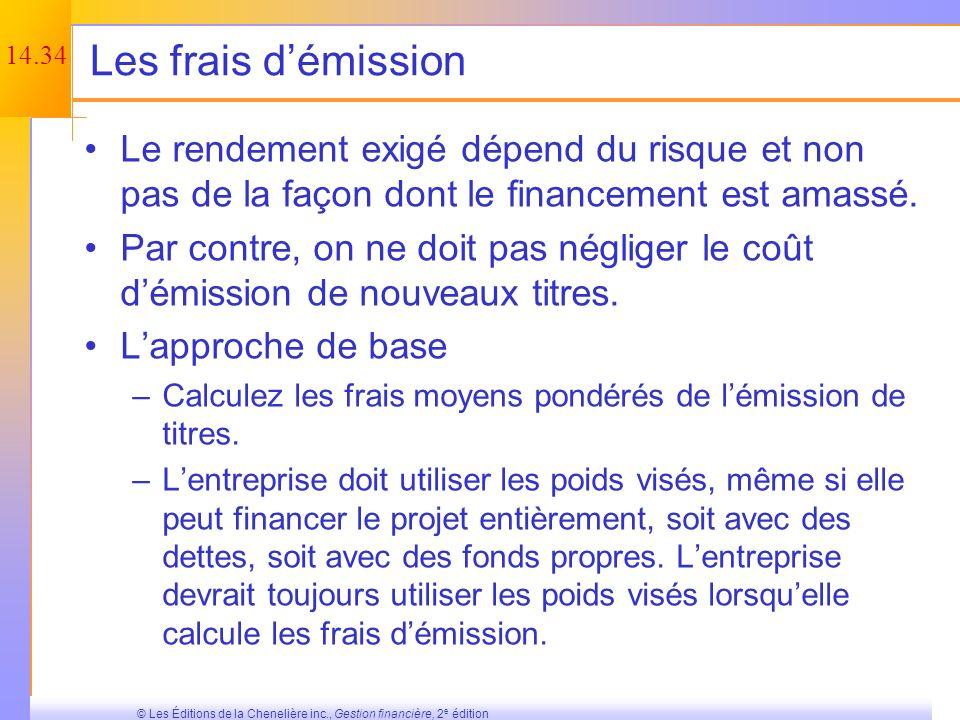 14.33 © Les Éditions de la Chenelière inc., Gestion financière, 2 e édition Lapproche subjective – Exemple Niveau de risqueTaux dactualisation Risque