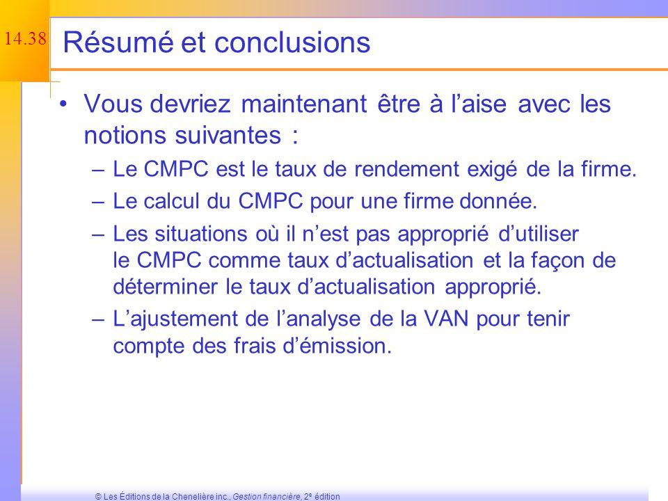 14.37 © Les Éditions de la Chenelière inc., Gestion financière, 2 e édition Quiz minute Quelles sont les deux approches utilisées pour calculer le coû
