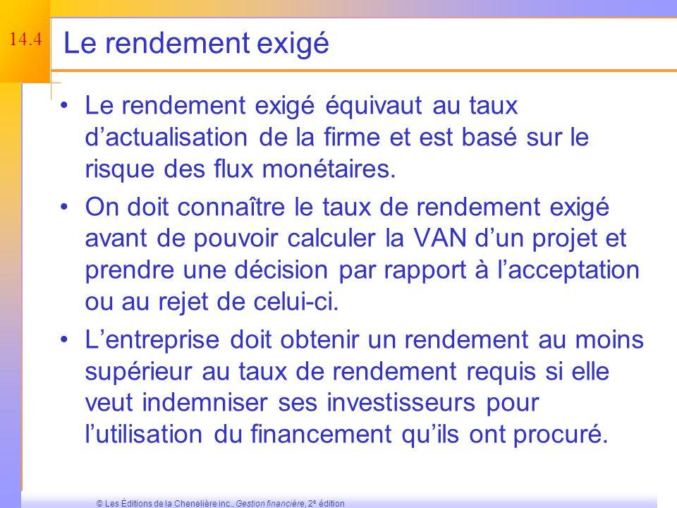 14.3 © Les Éditions de la Chenelière inc., Gestion financière, 2 e édition Pourquoi le coût du capital est-il si important ? Nous savons déjà que le r