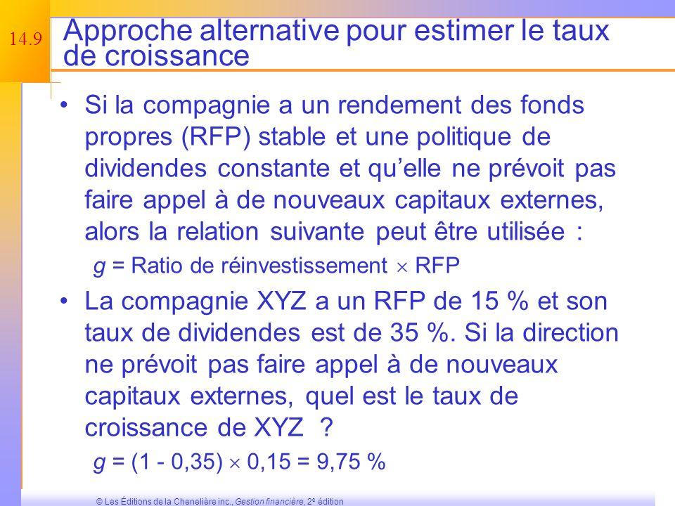 14.8 © Les Éditions de la Chenelière inc., Gestion financière, 2 e édition Lestimation du taux de croissance – Exemple Une méthode pour estimer le tau