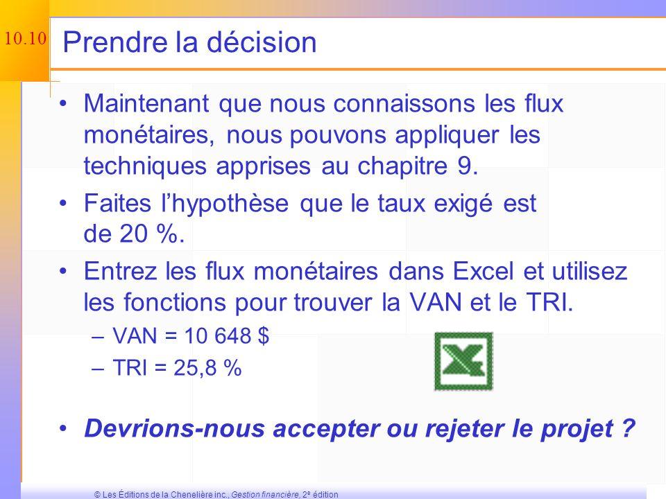 10.9 © Les Éditions de la Chenelière inc., Gestion financière, 2 e édition Total des flux monétaires anticipés – Exemple Année 0123 FM exploitation 51