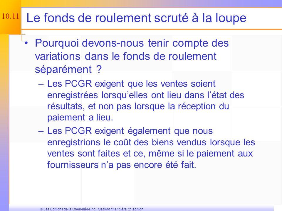 10.10 © Les Éditions de la Chenelière inc., Gestion financière, 2 e édition Prendre la décision Maintenant que nous connaissons les flux monétaires, n