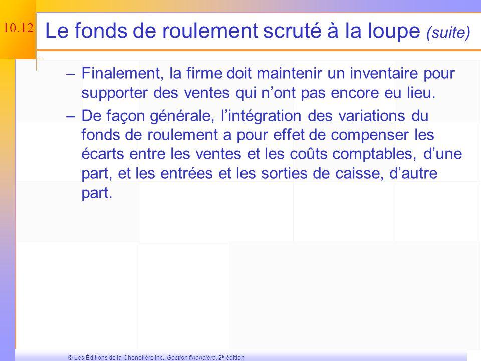 10.11 © Les Éditions de la Chenelière inc., Gestion financière, 2 e édition Le fonds de roulement scruté à la loupe Pourquoi devons-nous tenir compte
