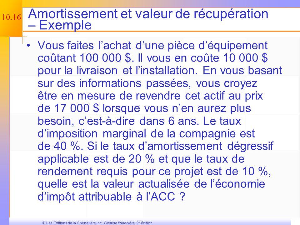 10.15 © Les Éditions de la Chenelière inc., Gestion financière, 2 e édition Formule de la valeur actualisée des économies dimpôt attribuables à lamort