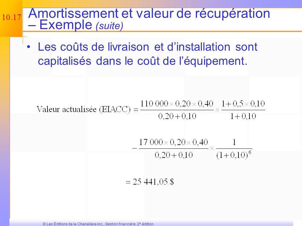 10.16 © Les Éditions de la Chenelière inc., Gestion financière, 2 e édition Amortissement et valeur de récupération – Exemple Vous faites lachat dune
