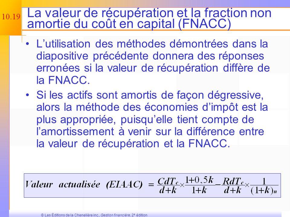 10.18 © Les Éditions de la Chenelière inc., Gestion financière, 2 e édition Dautres définitions du flux monétaire provenant de lexploitation La méthod