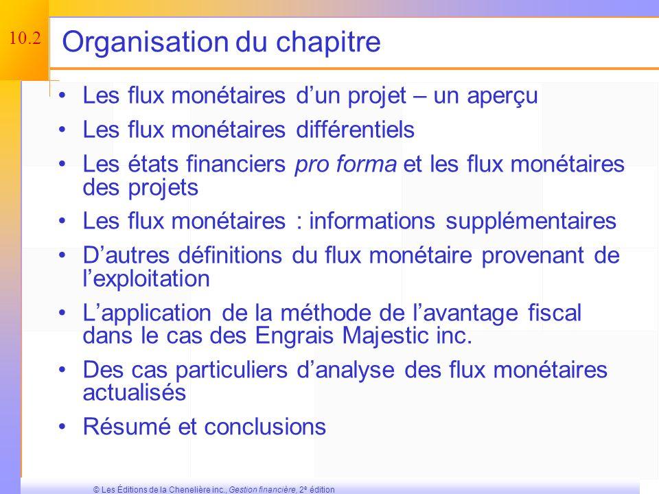 10.1 © Les Éditions de la Chenelière inc., Gestion financière, 2 e édition Concepts clés et apprentissage Comprendre comment déterminer les flux monét
