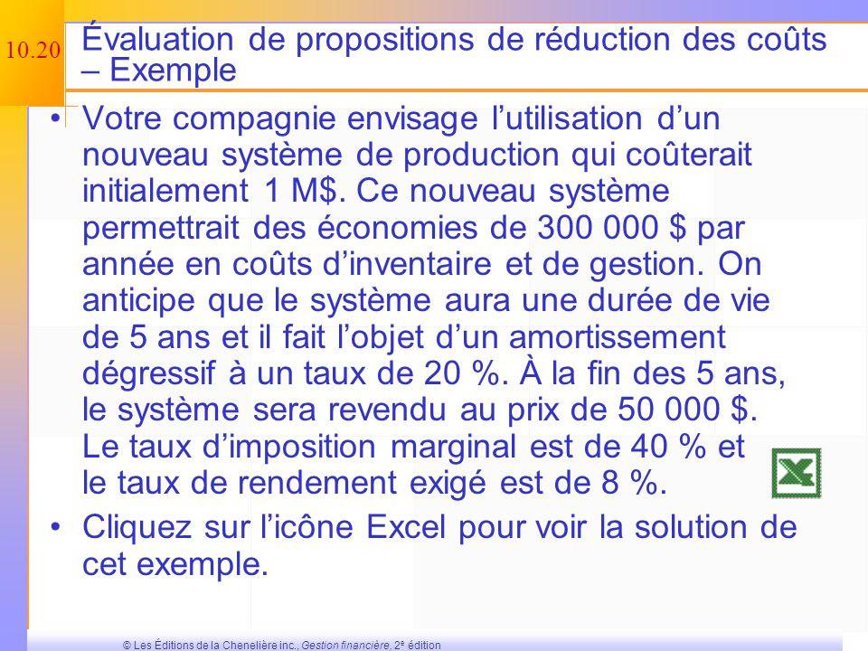 10.19 © Les Éditions de la Chenelière inc., Gestion financière, 2 e édition La valeur de récupération et la fraction non amortie du coût en capital (F