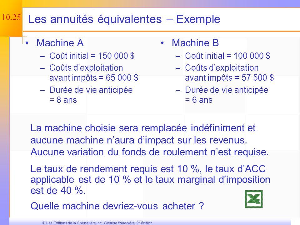 10.24 © Les Éditions de la Chenelière inc., Gestion financière, 2 e édition Le remplacement dun élément dactif – Exemple (suite et fin) La VAN du proj