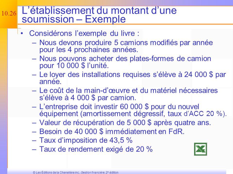 10.25 © Les Éditions de la Chenelière inc., Gestion financière, 2 e édition Les annuités équivalentes – Exemple Machine A –Coût initial = 150 000 $ –C