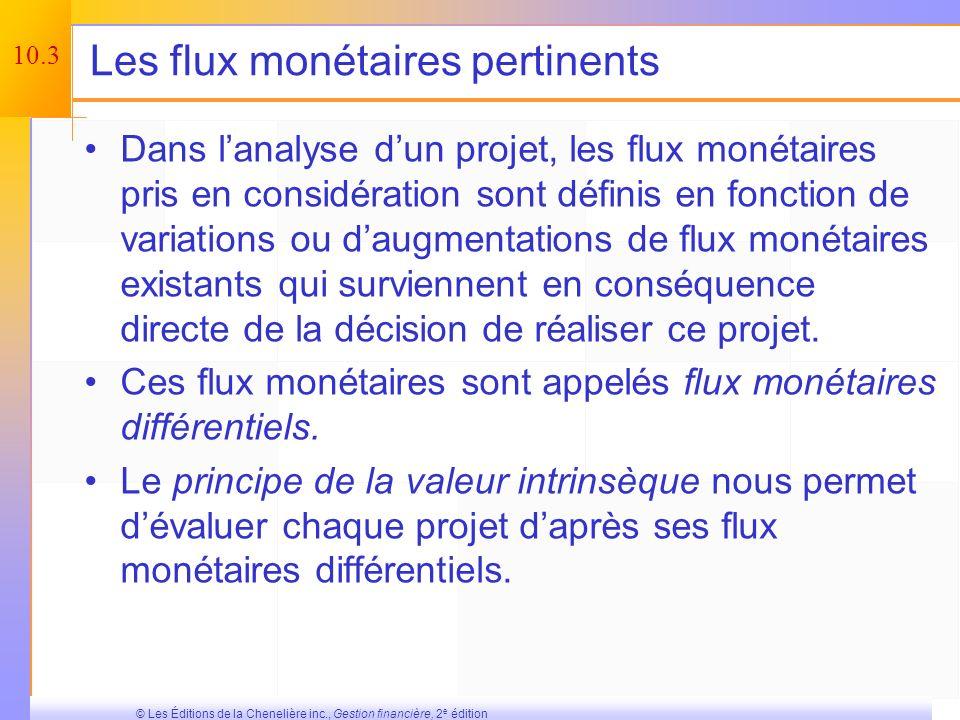 10.2 © Les Éditions de la Chenelière inc., Gestion financière, 2 e édition Organisation du chapitre Les flux monétaires dun projet – un aperçu Les flu
