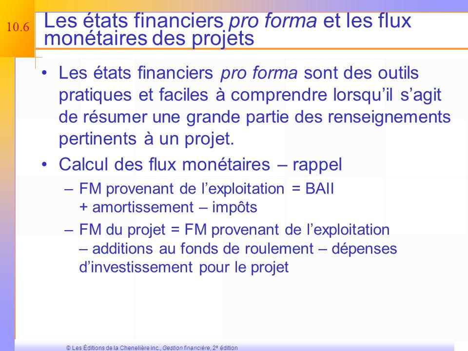 10.5 © Les Éditions de la Chenelière inc., Gestion financière, 2 e édition Les différents types de flux monétaires différentiels Les coûts irrécupérab