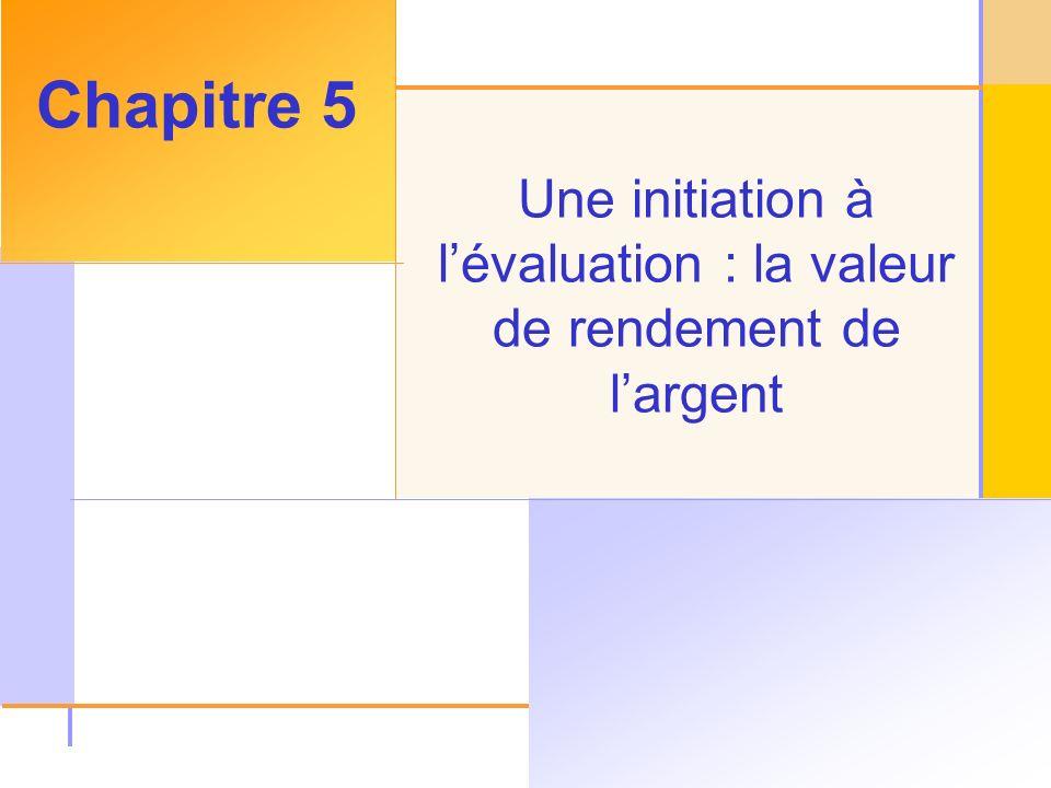 © 2003 The McGraw-Hill Companies, Inc, All rights reserved, Une initiation à lévaluation : la valeur de rendement de largent Chapitre 5
