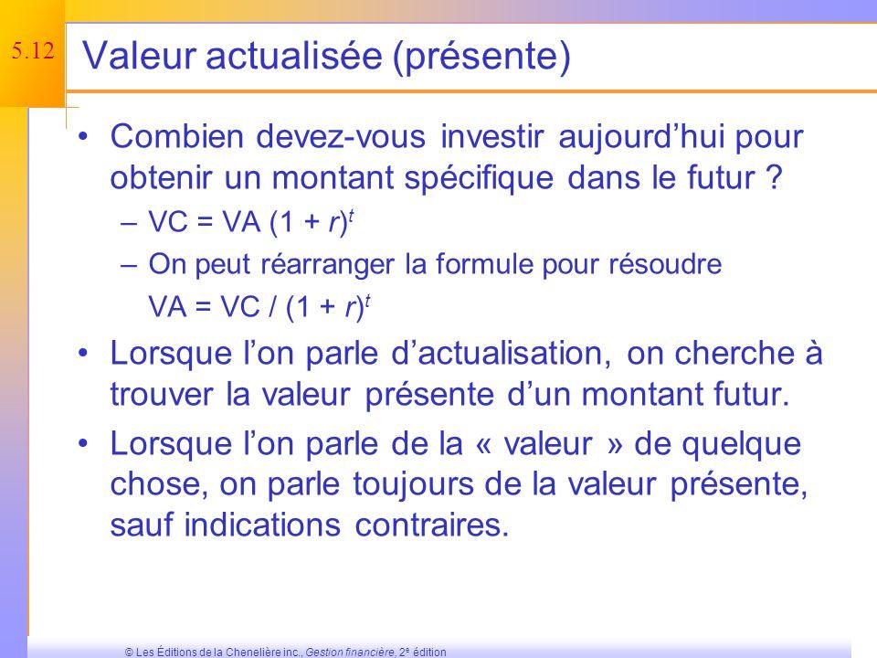 5.11 © Les Éditions de la Chenelière inc., Gestion financière, 2 e édition Quiz minute – Première partie Quel est la différence entre lintérêt simple et lintérêt composé .