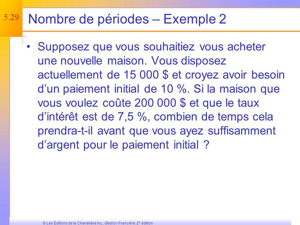 5.28 © Les Éditions de la Chenelière inc., Gestion financière, 2 e édition Nombre de périodes – Exemple 1 Vous voulez acheter une nouvelle voiture et êtes prêt à payer 20 000 $.