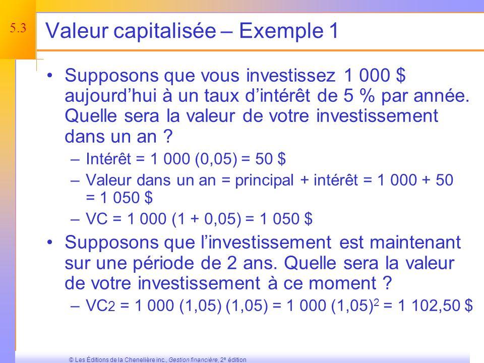 5.3 © Les Éditions de la Chenelière inc., Gestion financière, 2 e édition Valeur capitalisée – Exemple 1 Supposons que vous investissez 1 000 $ aujourdhui à un taux dintérêt de 5 % par année.