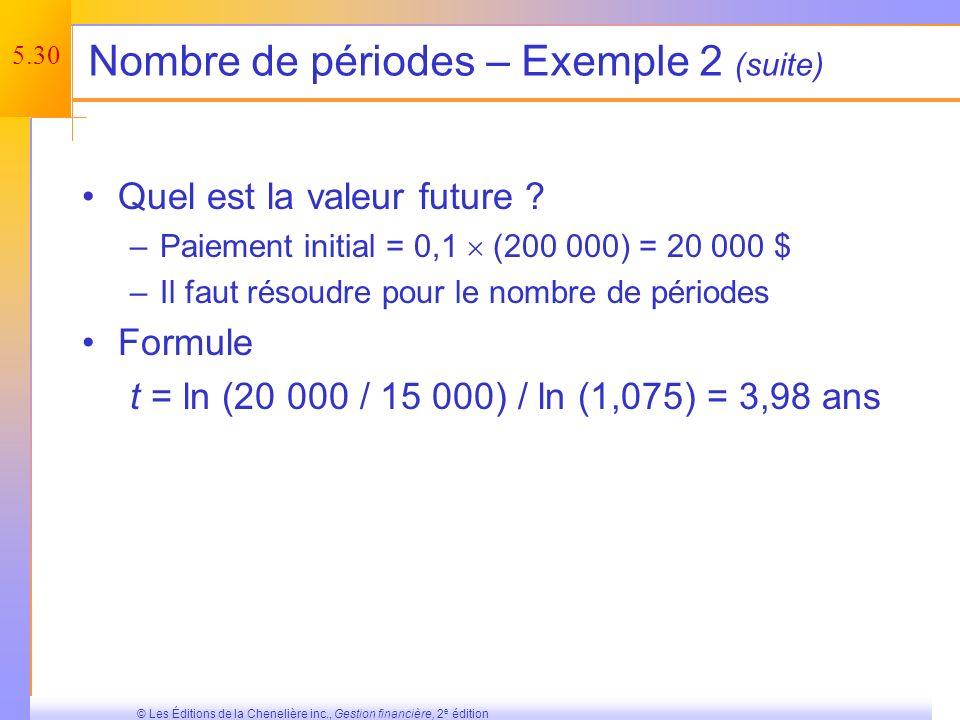 5.29 © Les Éditions de la Chenelière inc., Gestion financière, 2 e édition Nombre de périodes – Exemple 2 Supposez que vous souhaitiez vous acheter une nouvelle maison.
