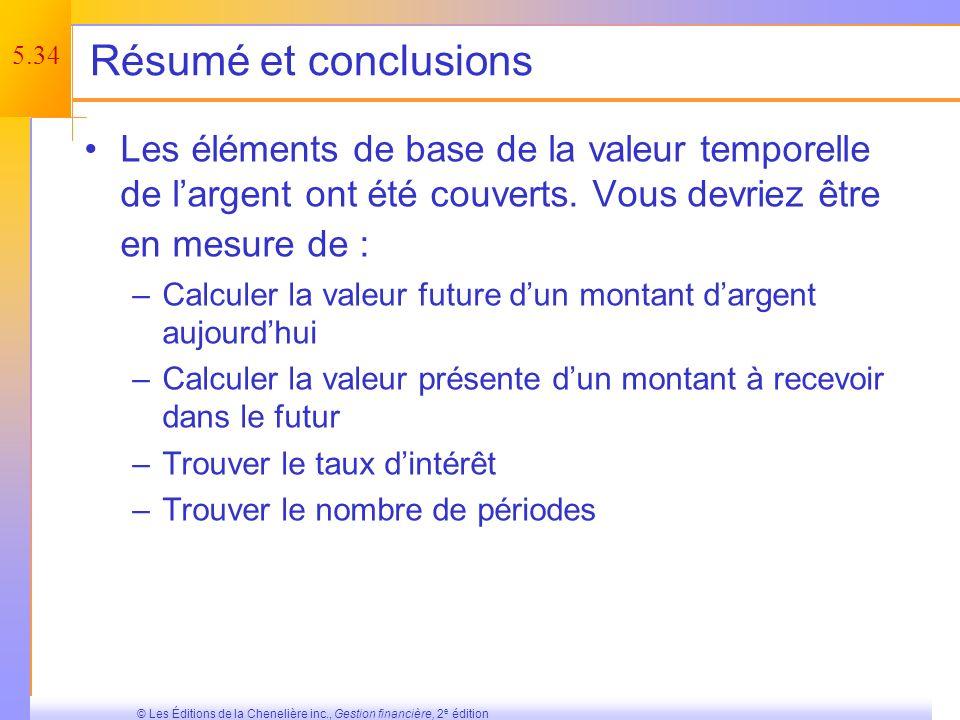 5.33 © Les Éditions de la Chenelière inc., Gestion financière, 2 e édition Tableau 5.4