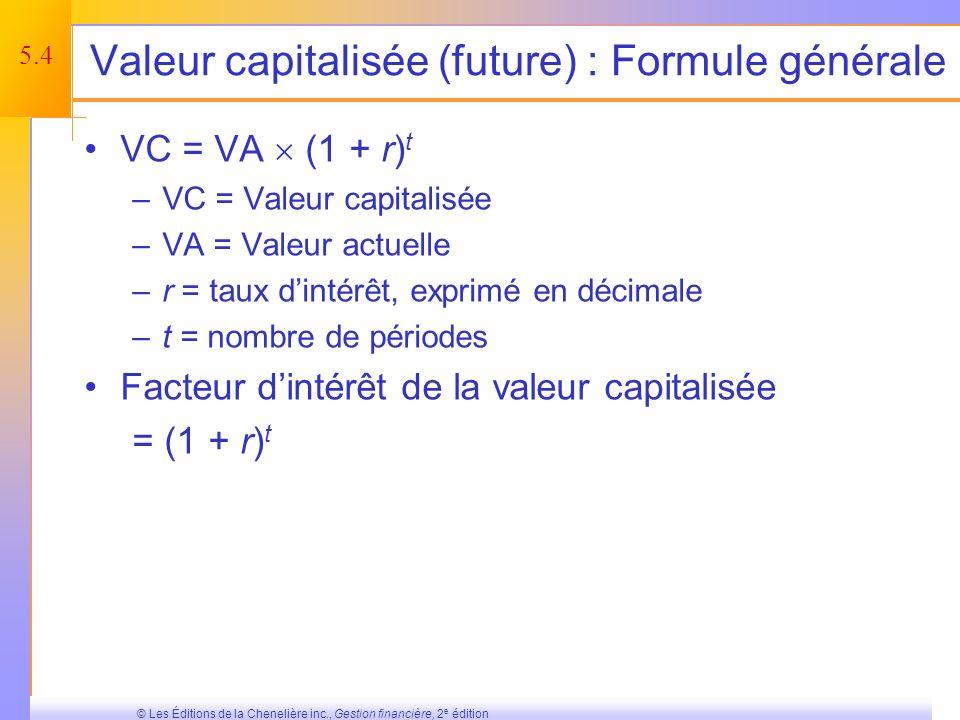 5.34 © Les Éditions de la Chenelière inc., Gestion financière, 2 e édition Résumé et conclusions Les éléments de base de la valeur temporelle de largent ont été couverts.