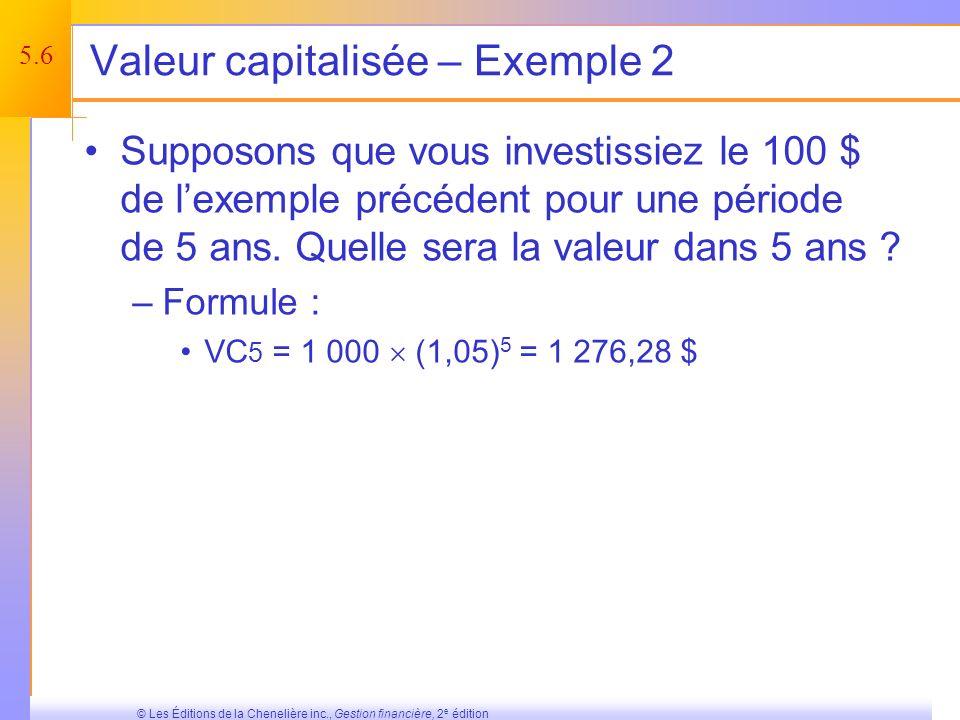 5.5 © Les Éditions de la Chenelière inc., Gestion financière, 2 e édition Effets de lintérêt composé Intérêt simple – intérêt calculé uniquement sur un capital initial.