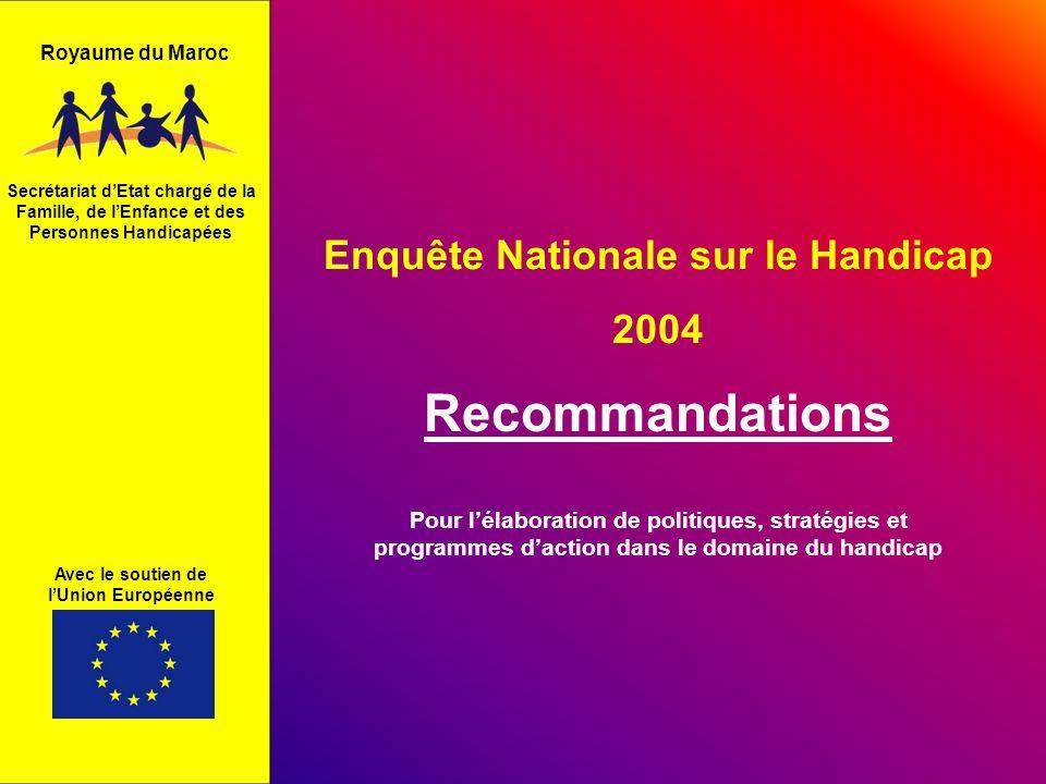 Enquête Nationale sur le Handicap 2004 Recommandations Secrétariat dEtat chargé de la Famille, de lEnfance et des Personnes Handicapées Avec le soutie