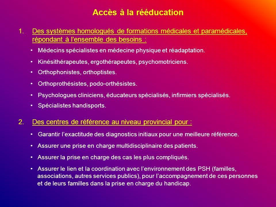 Accès à la rééducation 1.Des systèmes homologués de formations médicales et paramédicales, répondant à lensemble des besoins : 2.Des centres de référe