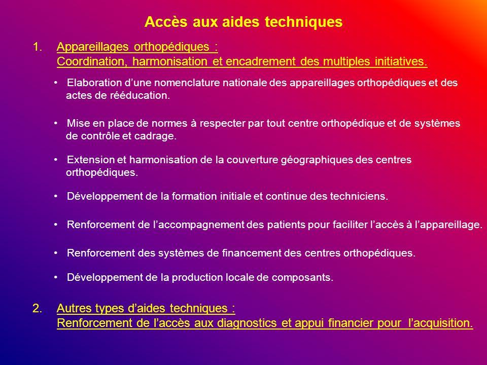 Accès aux aides techniques 1.Appareillages orthopédiques : Coordination, harmonisation et encadrement des multiples initiatives. Elaboration dune nome