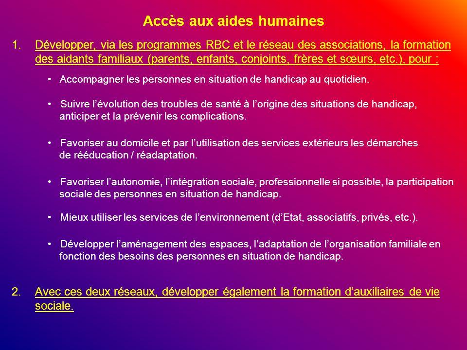 Accès aux aides humaines 1.Développer, via les programmes RBC et le réseau des associations, la formation des aidants familiaux (parents, enfants, con
