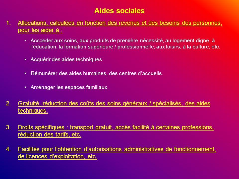 Aides sociales 1.Allocations, calculées en fonction des revenus et des besoins des personnes, pour les aider à : Acccéder aux soins, aux produits de p