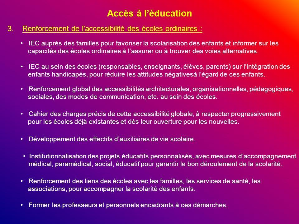 Accès à léducation 3.Renforcement de laccessibilité des écoles ordinaires : IEC auprès des familles pour favoriser la scolarisation des enfants et inf