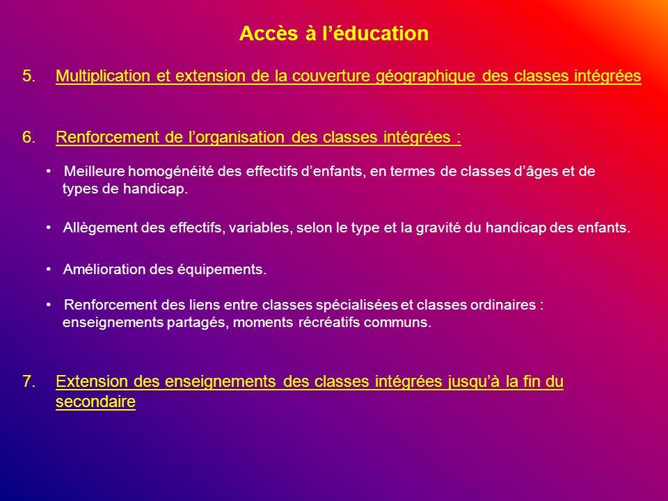 Accès à léducation 6.Renforcement de lorganisation des classes intégrées : Meilleure homogénéité des effectifs denfants, en termes de classes dâges et