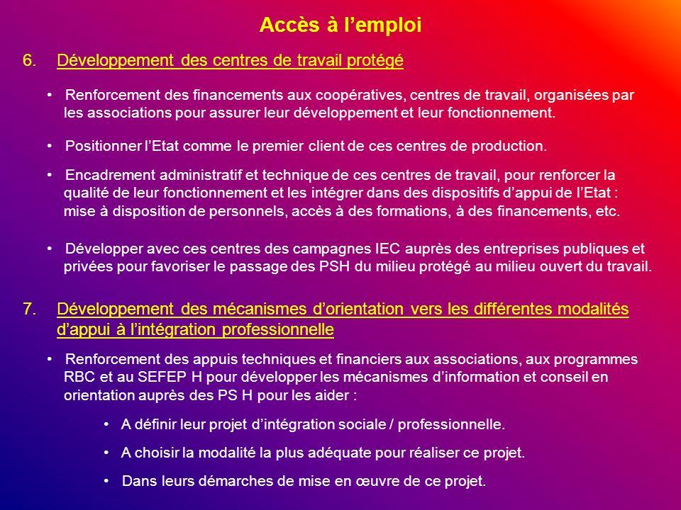 Accès à lemploi 6.Développement des centres de travail protégé Renforcement des financements aux coopératives, centres de travail, organisées par les