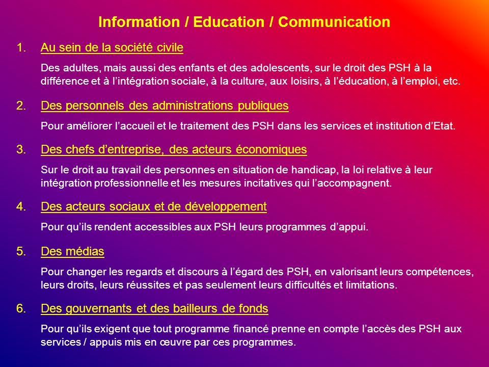 Information / Education / Communication 1.Au sein de la société civile Des adultes, mais aussi des enfants et des adolescents, sur le droit des PSH à