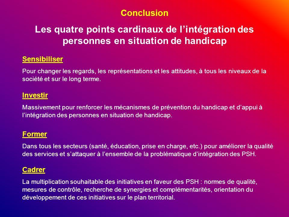 Conclusion Les quatre points cardinaux de lintégration des personnes en situation de handicap Sensibiliser Pour changer les regards, les représentatio