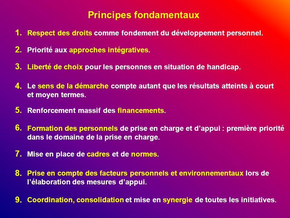 Principes fondamentaux Respect des droits comme fondement du développement personnel. Priorité aux approches intégratives. Liberté de choix pour les p