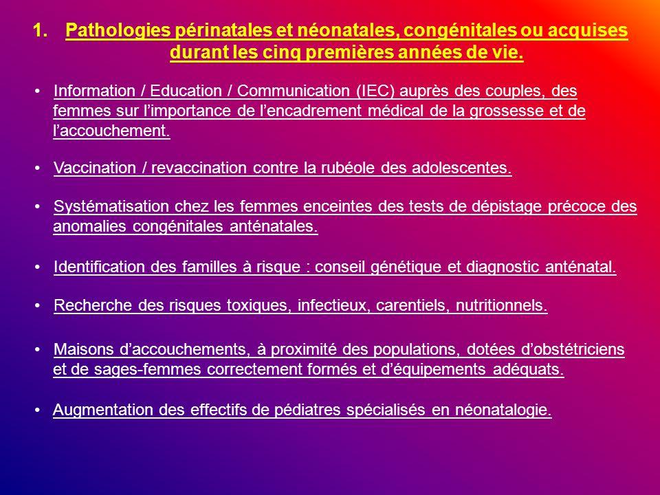 1.Pathologies périnatales et néonatales, congénitales ou acquises durant les cinq premières années de vie. Identification des familles à risque : cons