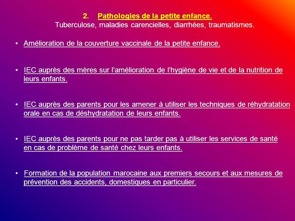 2.Pathologies de la petite enfance. Tuberculose, maladies carencielles, diarrhées, traumatismes. Amélioration de la couverture vaccinale de la petite