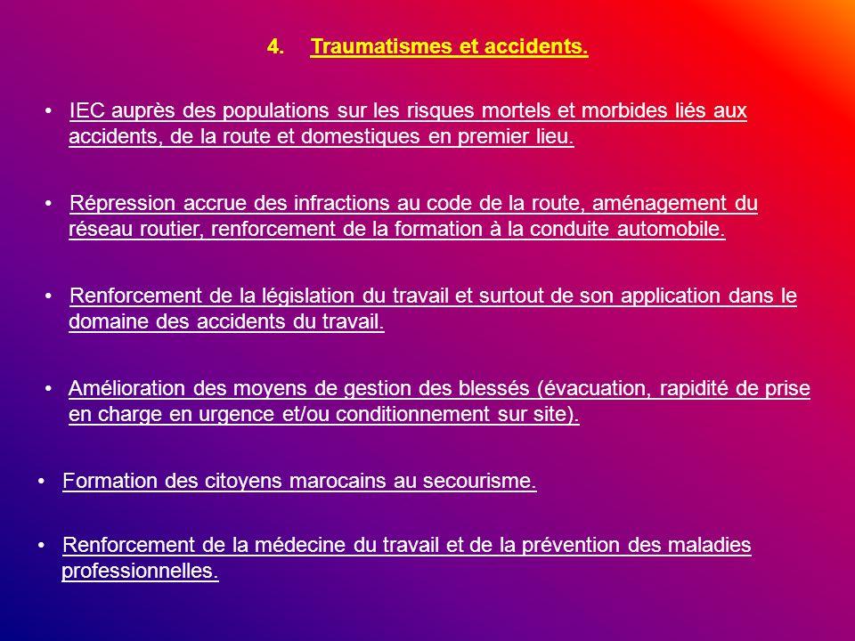 4.Traumatismes et accidents. IEC auprès des populations sur les risques mortels et morbides liés aux accidents, de la route et domestiques en premier