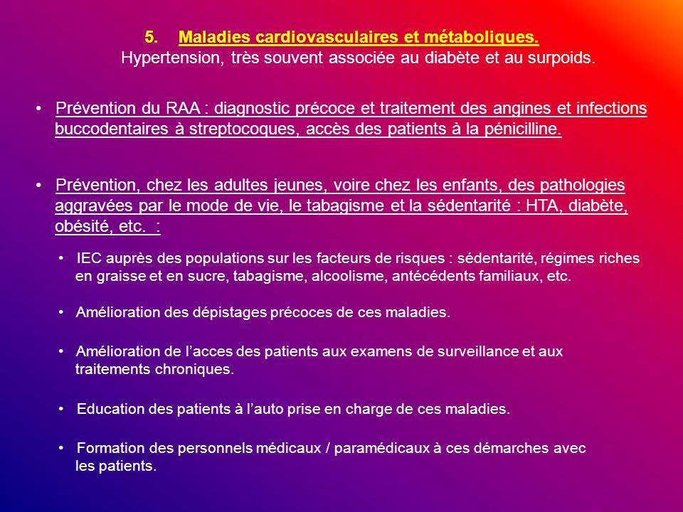 5.Maladies cardiovasculaires et métaboliques. Hypertension, très souvent associée au diabète et au surpoids. Prévention du RAA : diagnostic précoce et