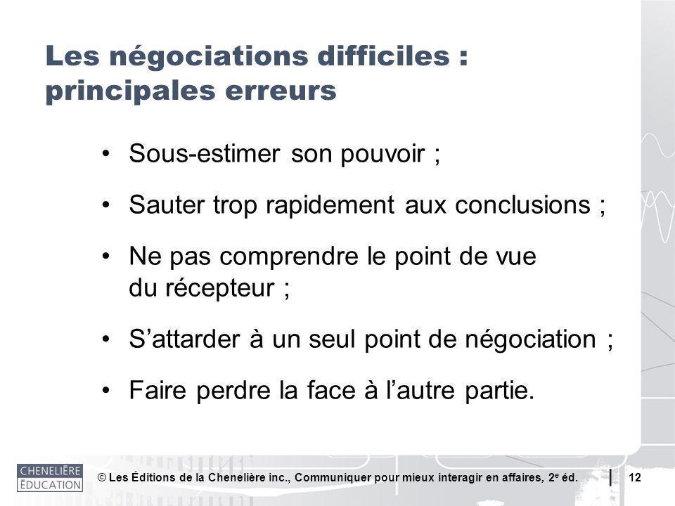 © Les Éditions de la Chenelière inc., Communiquer pour mieux interagir en affaires, 2 e éd. 12 Sous-estimer son pouvoir ; Sauter trop rapidement aux c