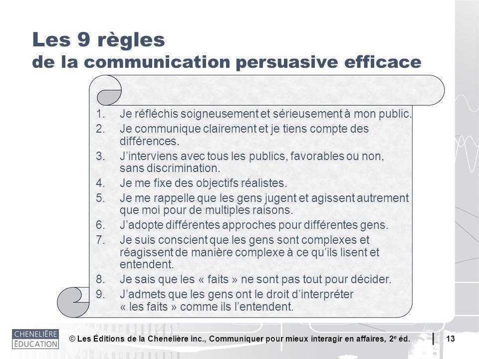 © Les Éditions de la Chenelière inc., Communiquer pour mieux interagir en affaires, 2 e éd. 13 Les 9 règles de la communication persuasive efficace 1.
