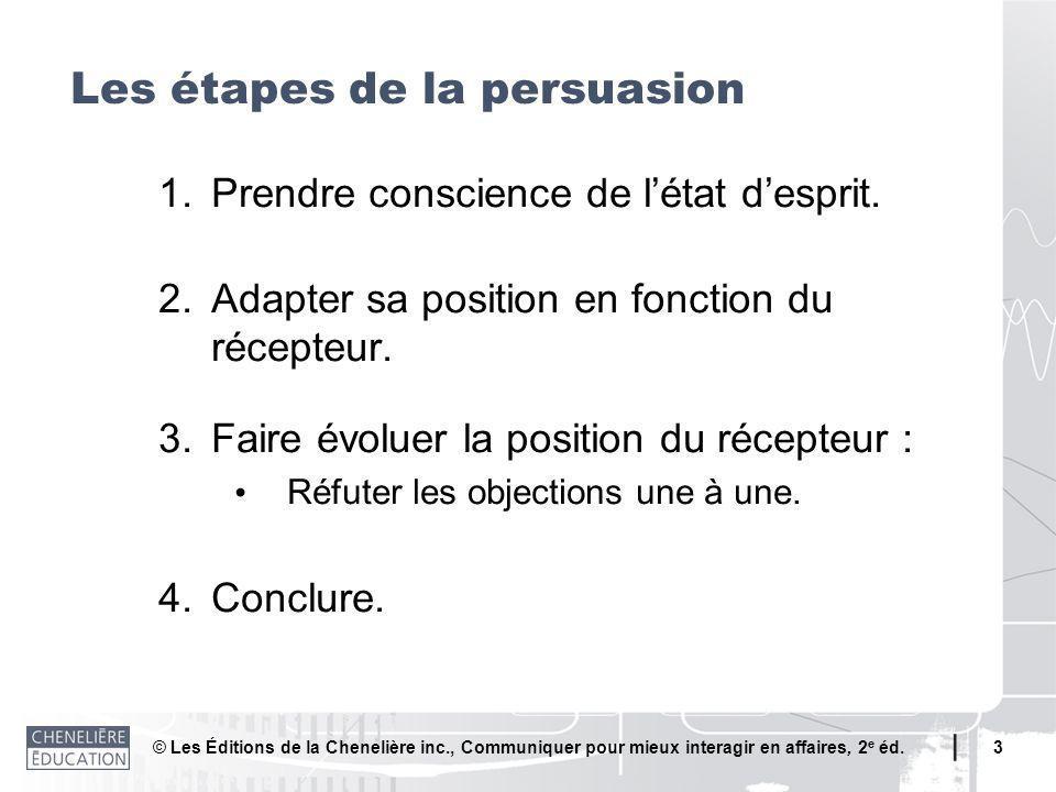 © Les Éditions de la Chenelière inc., Communiquer pour mieux interagir en affaires, 2 e éd. 3 1.Prendre conscience de létat desprit. 2.Adapter sa posi