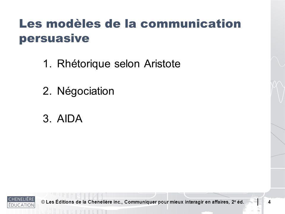 © Les Éditions de la Chenelière inc., Communiquer pour mieux interagir en affaires, 2 e éd. 4 1.Rhétorique selon Aristote 2.Négociation 3.AIDA Les mod