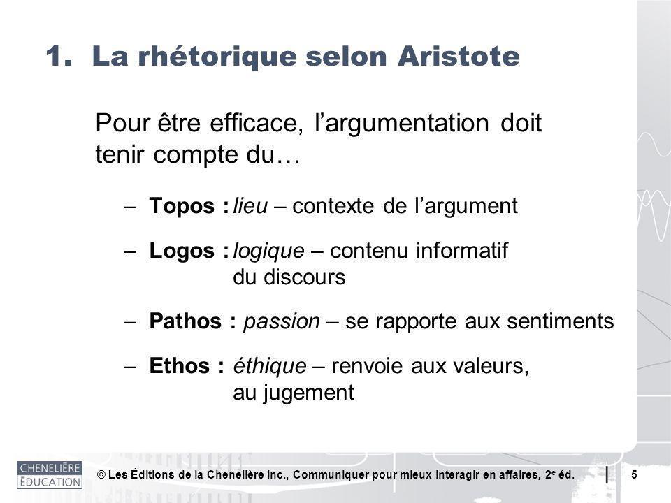 © Les Éditions de la Chenelière inc., Communiquer pour mieux interagir en affaires, 2 e éd. 5 Pour être efficace, largumentation doit tenir compte du…
