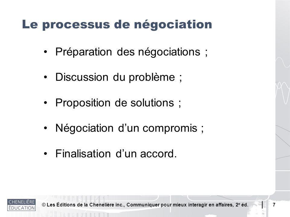 © Les Éditions de la Chenelière inc., Communiquer pour mieux interagir en affaires, 2 e éd. 7 Préparation des négociations ; Discussion du problème ;