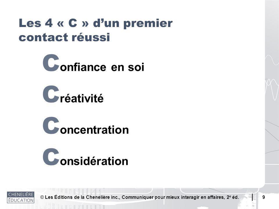© Les Éditions de la Chenelière inc., Communiquer pour mieux interagir en affaires, 2 e éd. 9 C onfiance en soi C réativité C oncentration C onsidérat