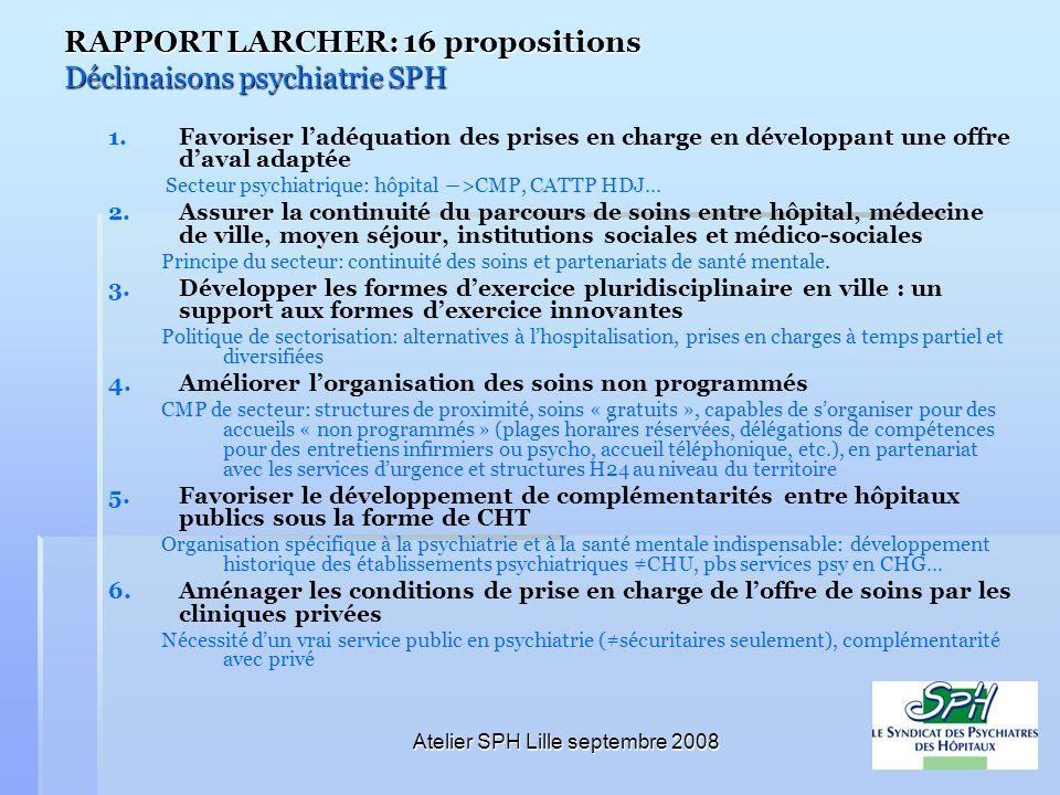 Atelier SPH Lille septembre 2008 RAPPORT LARCHER: 16 propositions Déclinaisons psychiatrie SPH 1. 1.Favoriser ladéquation des prises en charge en déve