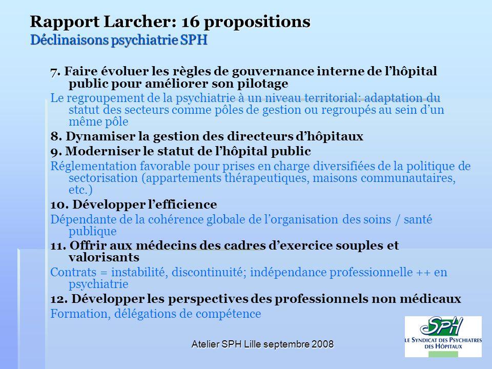 Atelier SPH Lille septembre 2008 Rapport Larcher: 16 propositions Déclinaisons psychiatrie SPH 7. 7. Faire évoluer les règles de gouvernance interne d